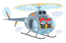 Helicopter With Two Funny Badg...