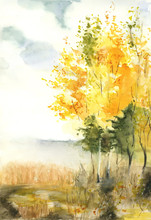 A Landscape Painted In Watercolor On Which Painted Golden Autumn