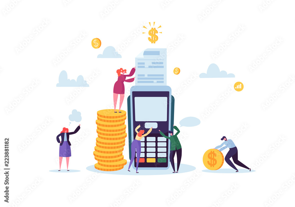 Fototapeta Credit Card Payment by Terminal Concept with Flat People. Financial Transaction with Characters and Money. Vector illustration