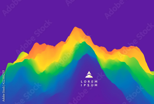 Poster Violet Mountain landscape. Mountainous terrain. Vector illustration. Abstract background.