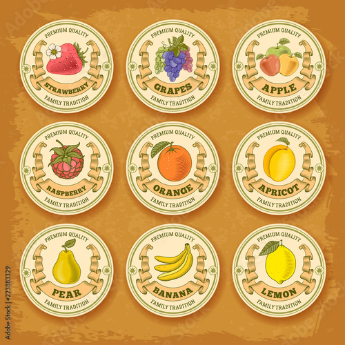 Fruits and berries label set Wall mural