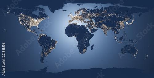 mapa świata ilustracji nocy