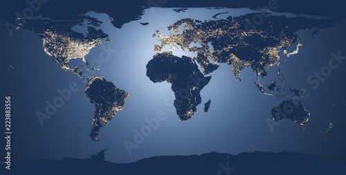 Obraz world map illustration night - fototapety do salonu