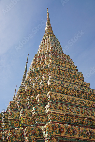 Impressive part of a typical buddhist temple in Bangkok, Thailand