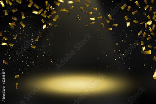 Canvastavla konfettiregen scheinwerferlicht bühne