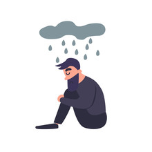 Sad Man Sits In The Rain. Sadness Dreary Lonely Depressed Young Man Thinks About The Bad. Unhappy Guy. Mental Disorder