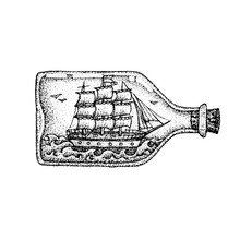 Dotwork Ship In Glass Bottle