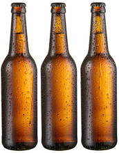 Three Bottles Of Cold Beer Wit...
