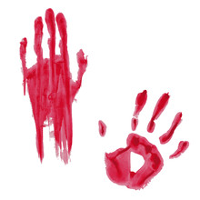 Bloody Hand Print Isolated On White Background. Vector Illustration