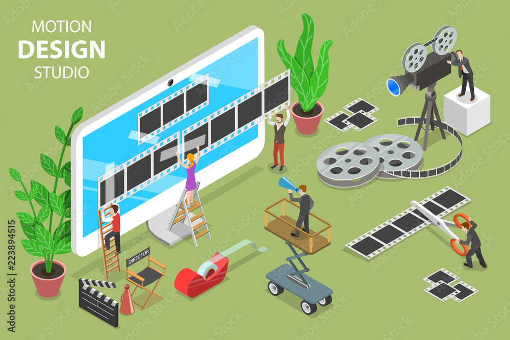 Fototapety, obrazy: Isometric flat vector concept of motion design studio, video editor app, creating video online.