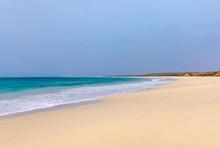 Santa Maria Beach, Boa Vista, Cape Verde. The Sandy Beach Is 18km With Waves Crashing From The Atlantic Ocean