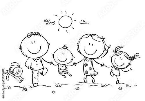 Fotografia  Happy family with two children having fun running outdoors, outline