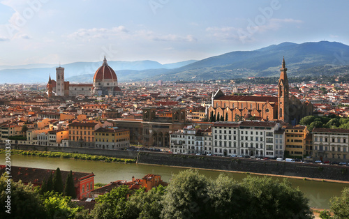 View of Cathedral of Santa Maria del Fiore (Florence Cathedral) and Basilica of Santa Croce in Florence, Italy