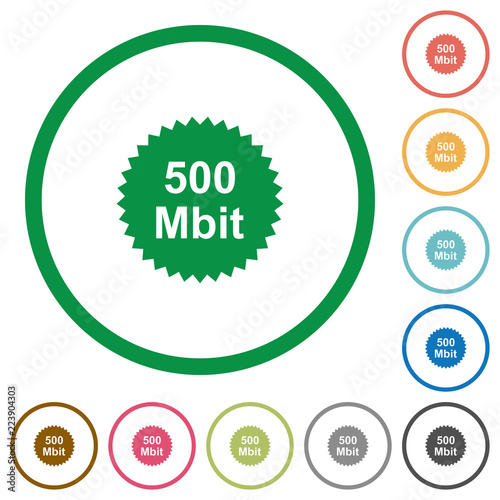 Fotografering  500 mbit guarantee sticker flat icons with outlines