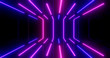 canvas print picture - 3D Rendering. Geometric figure in neon light against a dark tunnel. Laser glow.