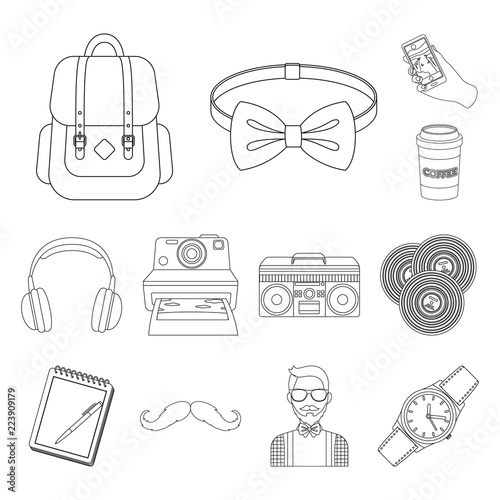 Style Hipster outline icons in set collection for design Wallpaper Mural