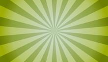 Green Sunburst Background - Bright Vector Illustration