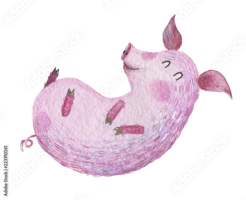 Fotobehang Lilac Cute watercolor farm animal on the isolated white background.