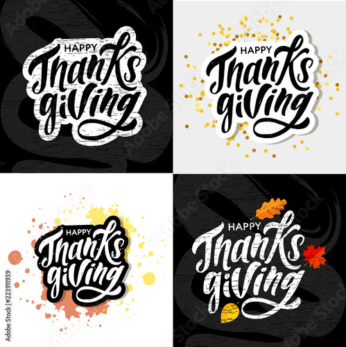 Fotografia, Obraz  Happy Thanksgiving lettering Calligraphy Brush Text Holiday Vector Sticker Gold