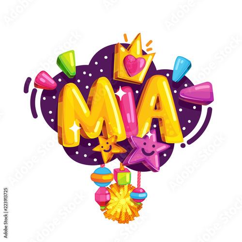 Cuadros en Lienzo Vector children's emblem of Mia