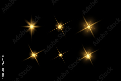 Vector glowing light effects set Canvas Print