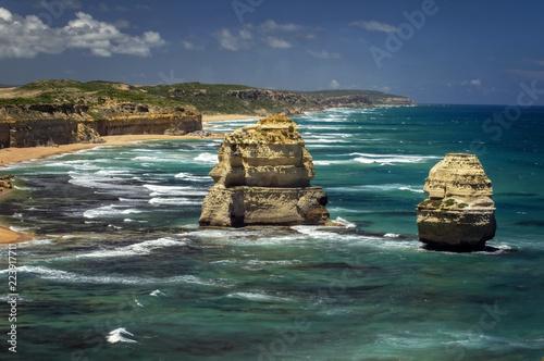 Foto op Plexiglas Oceanië Victoria - Australia – rough coastline with sandy beach and sunny blue sky