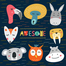 Cute Heads Of Animals Vector I...
