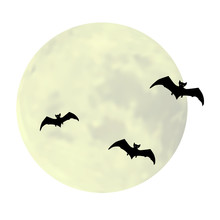 Silhouettes Of Bats On The Background Of Full Moon. Decoration For Halloween. Vector Illustration.