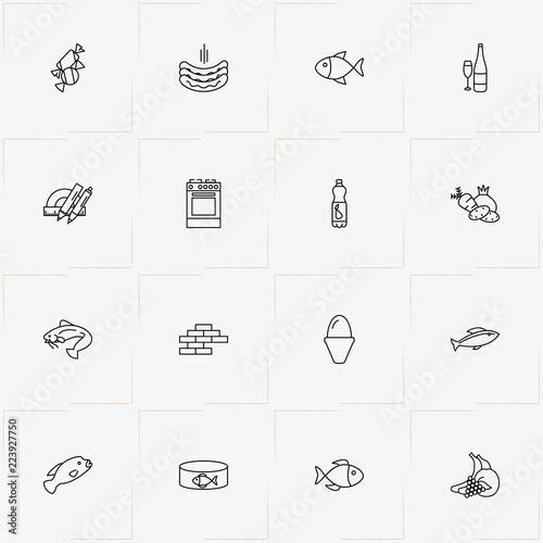 Fotografia, Obraz  Product Categories line icon set with wine bottle , fish can and juice bottle