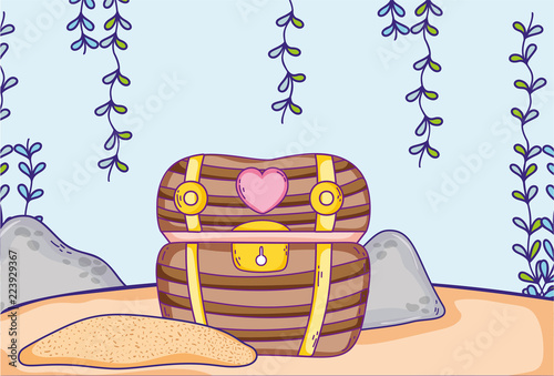 Fotografie, Obraz  Undersea treasure chest