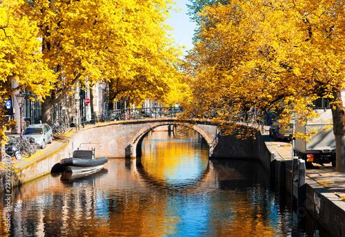 bridge of Amsterdam over canal ring landmark in old european citye, Holland Netherlands Wallpaper Mural