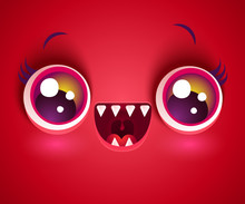 Cute Face Of Monster For Halloween