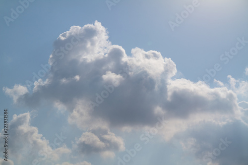 Canvas Prints Heaven sunny day and cumulus clouds near the Mediterranean sea