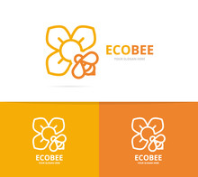 Flower And Bee Logo Combination. Unique Floral And Organiclogotype Design Template.