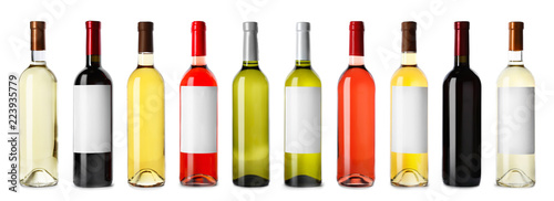 Set with different blank wine bottles on white background