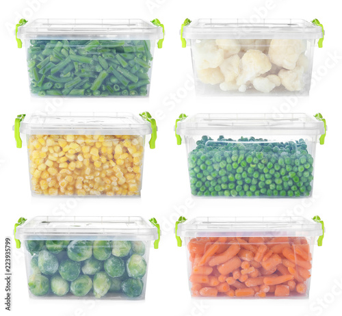 Set with frozen vegetables in plastic containers on white background