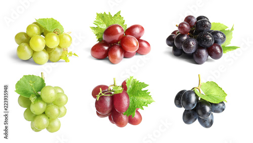 Photo Set with different ripe grapes on white background