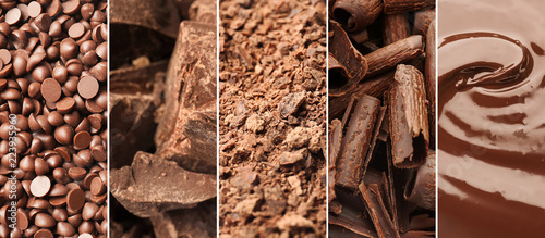 Set with delicious chocolate as textured background
