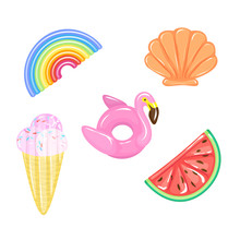 Set Of Flamingo, Rainbow, Watermelon, Ice Cream Cone, Seashell Pool Floats On Water. Air Mattress And Ring Buoy Type