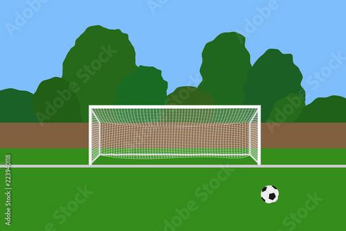 Fotografia, Obraz  Soccer goal and ball on football stadium