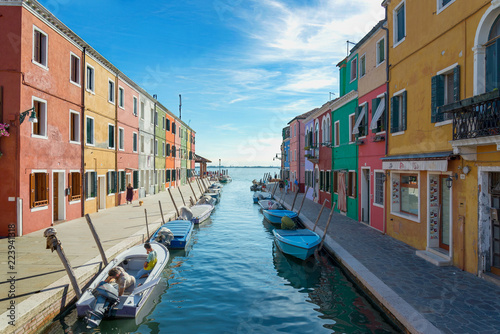 Aluminium Prints Venice Scenery of canal and colorful vibrant fisherman village in Burano island, Venice, Italy