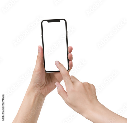 Fotografie, Obraz  Smartphone in female hands taking photo isolated on white blackground