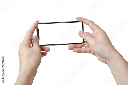 Fotografie, Obraz  Two hands holding big screen smart phone, clipping path