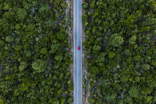 Aerial View Of A Red Car That ...