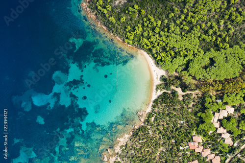 Fotografie, Tablou Spectacular aerial view of a beautiful wild beach bathed by a clear and turquoise sea, Sardinia, Italy