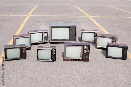 Fotografering  Collection of old TV sets