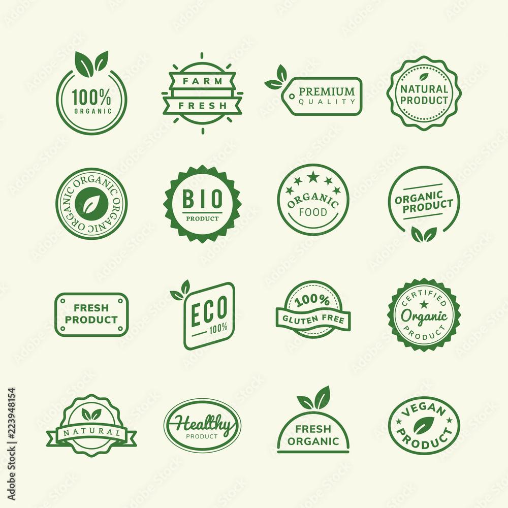 Fototapety, obrazy: Organic product stamp emblems set illustration