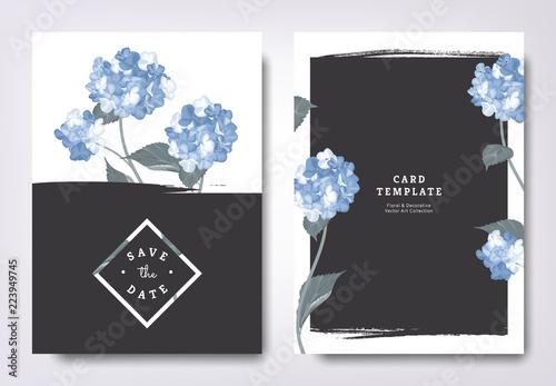 Fototapeta Botanical Wedding Invitation Card Template Design Blue Hydrangea Flowers And Leaves With Black Grunge Frame Minimalist Vintage Style