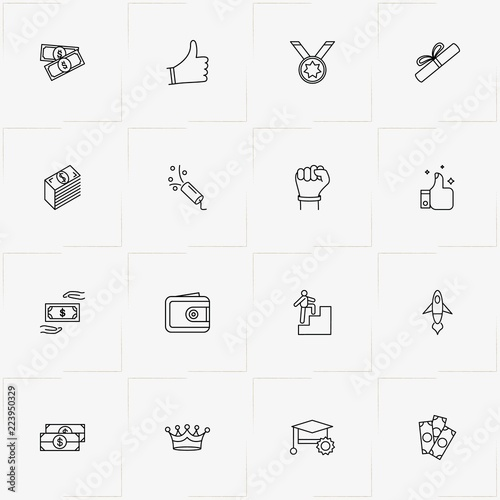 Fotografija  Success line icon set with diploma , money and student award