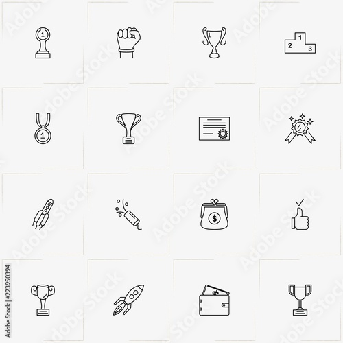 Fotografija  Success line icon set with rocket, diploma  and trophy